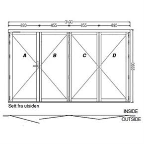 Lacuna Foldedør 4-dørs Hvit